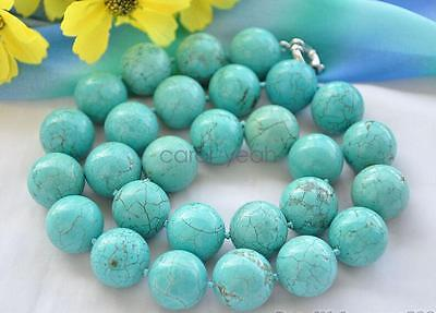 fashion women 24inch Big 14mm round blue turquoise bead necklace AAA beautiful ()