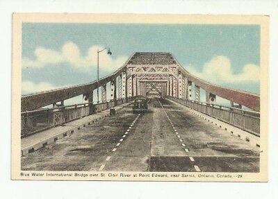 Blue Water International Bridge Near Sarnia  Ontario  Canada Vintage Postcard