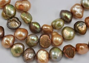 7-8mm Copper Chocolate Brown Bronze Mixed Colour Nugget  Freshwater Pearls