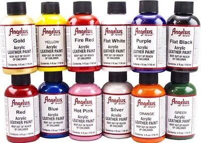 Angelus Acrylic Leather & Vinyl Starter Set - Kit #5, 12 4oz Bottles of -