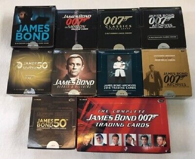 James Bond Lot of 10 Opened Boxes of Base Trading Cards