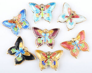30 Pcs Mix Cloisonne very beautiful butterfly Charms pendant Beads 20*15mm CL94