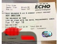 2x Roy orbison tickets echo arena 17/04/18