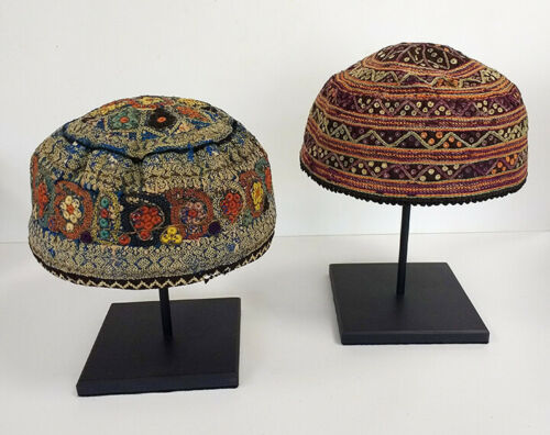 Pair of Antique Tekke Turoman, Embroidered Hats, Central Asia w/ Museum Stands
