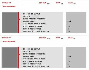 1 pair of Bruno Mars 24K tickets (seats together)
