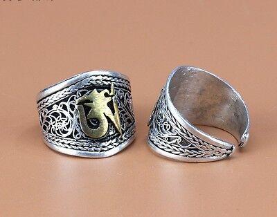 Wide Adjustable Tibetan Lotus Filigree Mantra Golden OM Weaving Amulet Ring