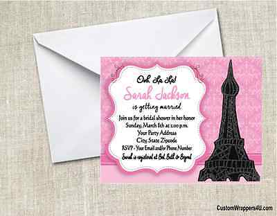 Paris Eiffel Tower Baby Shower or Birthday Party Invitations Personalized