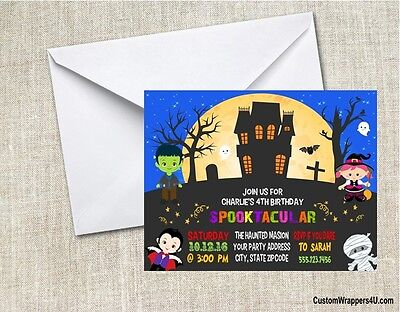 Halloween Haunted House Kids Birthday Costume Party Invitations - Halloween Birthday Costume Party Invitations