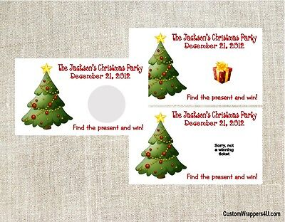 Christmas Holiday Tree Party Scratch Off Tickets Game Cards Favors Custom - Party Tickets