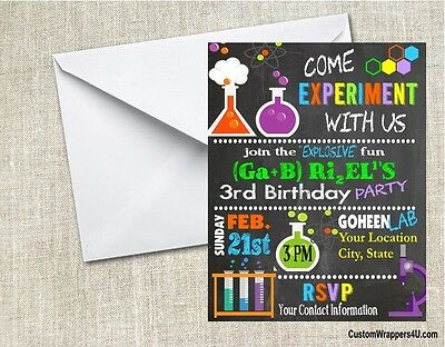 Mad Scientist Science Chalkboard Birthday Party Invitations Personalized - Science Birthday