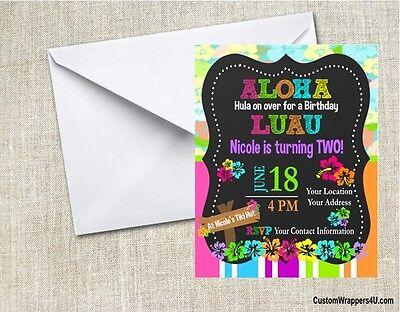 Luau Chalkboard Birthday Party Invitations Personalized Custom