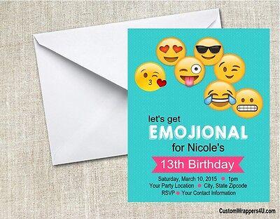 emojis emoji birthday party invitations personalized custom ebay
