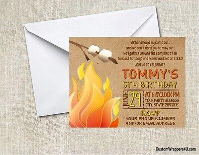 Camping Campfire Bonfire Smores Birthday Party Invitations Personalized Custom - Birthday Bonfire