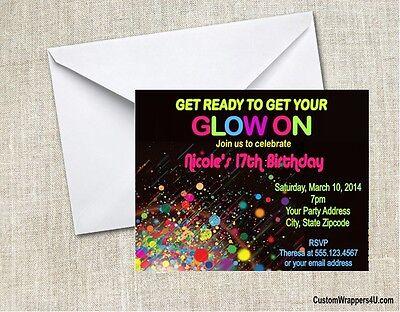 Glow Neon Retro 80's Birthday Party Invitations Personalized Custom (80s Birthday Invitations)
