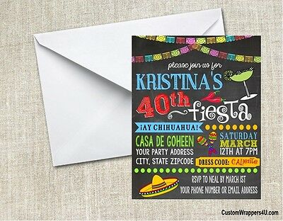 Fiesta Chalkboard Birthday Party Invitations Personalized (Fiesta Birthday Party Invitations)