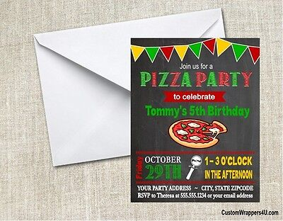 Pizza Chalkboard Birthday Party Invitations Personalized Custom