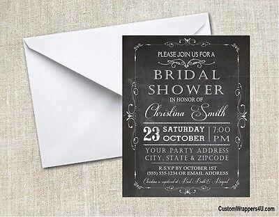 Wedding Bridal Shower Chalkboard  Party Invitations Personalized Custom - Chalkboard Bridal Shower Invitations