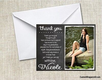 Graduation Graduate YOUR PHOTO Chalkboard Party Thank You Note Cards Custom