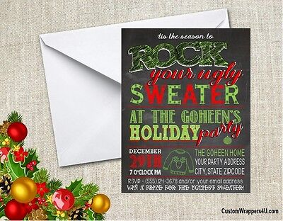 Christmas Holiday Ugly Sweater Chalkboard Party Invitations Personalized Custom (Ugly Christmas Sweater Party Invitations)