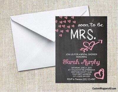 Wedding Bridal Shower Chalkboard Hearts Party Invitations Personalized Custom - Chalkboard Bridal Shower Invitations