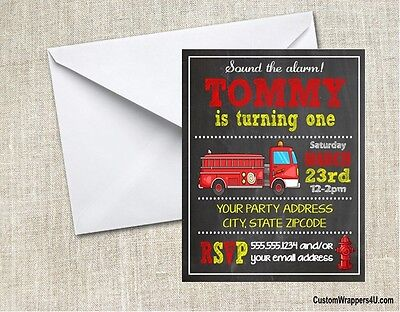Firetruck Fire Truck Chalkboard Birthday Party Invitations Personalized Custom - Firetruck Party Supplies