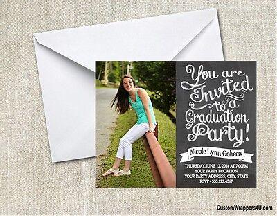 Graduation Chalkboard Party Invitations Announcements Personalized Custom