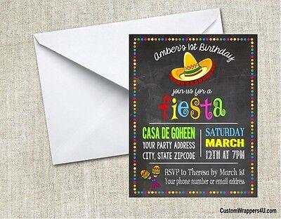Fiesta Chalkboard Birthday Party Invitations Personalized - Fiesta Party Invitations