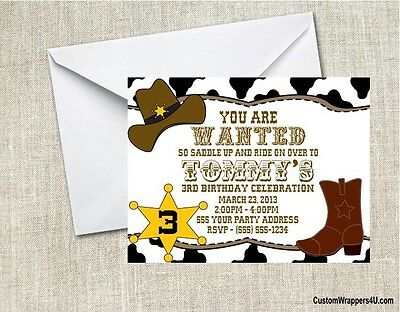 Western Rodeo Cowboy Birthday Party Invitations Personalized Custom