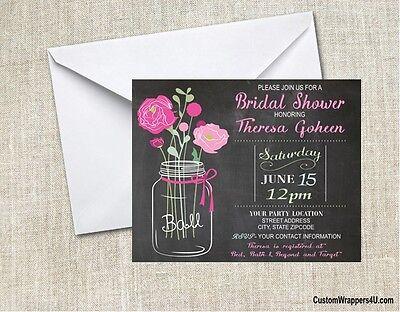 Wedding Bridal Shower Kraft Chalkboard Invites Invitations Personalized Custom - Chalkboard Bridal Shower Invitations