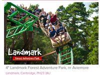 2 tickets for Landmark Forest Adventure Park