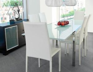 Beautiful Structube Glass/Chrome Extendable Dining Table