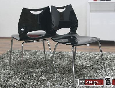 4 er Set moderner Designstuhl aus Acryl in Hochglanzoptik, Schwarz