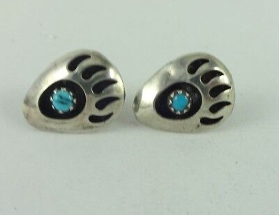 Sterling Silver Shadow Box Bear Paw Turquoise  Earrings 2.0 Grams