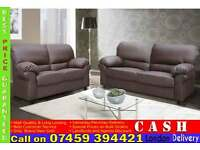 BRAND NEW PREMIUM LEATHER 3 AND 2 SEATER SOFA SET IN BLACK OR BROWN COLOR