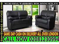 NEW CANDY 3 SEATER AND 2 SEATER SOFA SUITE BLACK BROWN