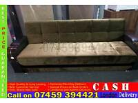 BRAND NEW FABRIC STORAGE SOFA BED SETTEE WITH WOODEN ARM RESTS, SOFABED