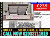 ***Brand New Double Crush Velvet Storage Bed Available With Mattress Get It Today* Hanley Falls