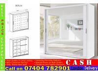 2 Door Sliding Mirrored Wardrob 203cm with Full Glass in Black, Brown Oak White Walnut- Brand New