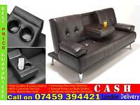 Brand New 3 Seater Leather Sleeper Sofa Bed with Cup Holder, Click Clack Small Double SofaBed