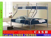 Single Double Alaska Triple MEtal BunkBed Frame with 9inch Deep Quilted Mattresses- Brand New