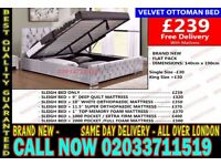 ***Brand New Double Crush Velvet Storage Bed Available With Mattress Get It Today* Grace City