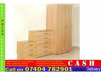 2 Door Wardrob Set Already Fitted Chest of Drawer and Bedside Table- Brand New