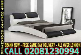 Double Leather Bedding White