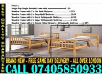 SINGLE AND DOUBLE WOODEN BUNK - BED WITH MATTRESS New York