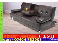 Cinema style 3 Seater Leather Sofa Settee with cup holder- Brand New