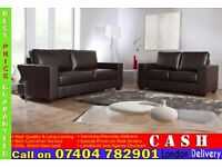 3 and 2 Seater Faux Leather Sofa Settee- Brand New