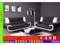 High Quality Leather 3 and 2 Seater Sofa Suite in Black White, Red- Brand New