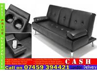 BRAND NEW 3 SEATER LEATHER SLEEPER SOFA BED SETTEE WITH CUPHOLDER SMALL DOUBLE SOFABED