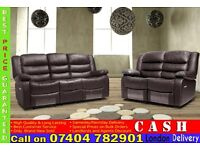 BRAND NEW ITALIAN LEATHER 3, 2 AND 1 SEATER RECLINER SOFA SUITES IN BLACK, BROWN, WHITE RED COLOR