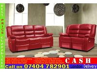 BRAND NEW 3 2 AND 1 SEATER RECLINER SOFA SUITE IN BONDED LEATHER FINISH, BLACK/BROWN/RED/WHITE COLOR